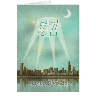 57th Birthday card with a city and spotlights