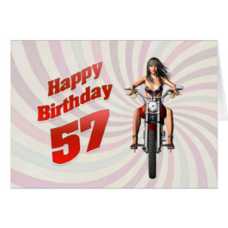 57th Birthday card with a motorbike girl