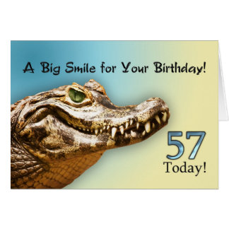 57th Birthday card with a smiling alligator