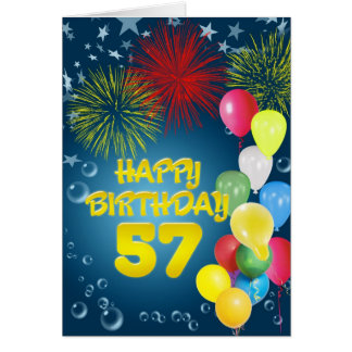 57th Birthday card with fireworks and balloons