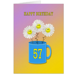 57th Birthday card with happy smiling flowers