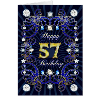 57th birthday card with masses of jewels