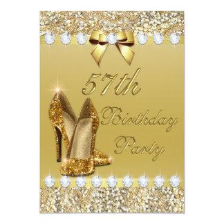 57th Birthday Classy Gold Heels Sequins Diamonds 13 Cm X 18 Cm Invitation Card