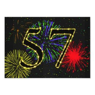 57th birthday party invitate 13 cm x 18 cm invitation card