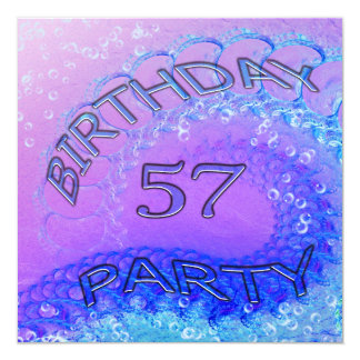 57th Birthday party invitation, Abstract and bubb 13 Cm X 13 Cm Square Invitation Card