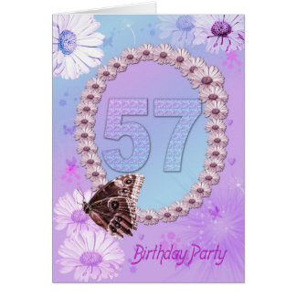 57th Birthday party Invitation Greeting Card
