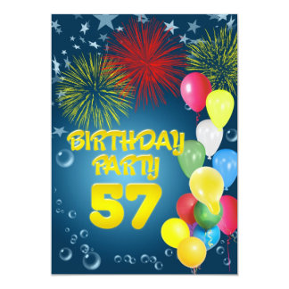 57th Birthday party Invitation with balloons