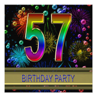 57th Birthday party Invitation with bubbles