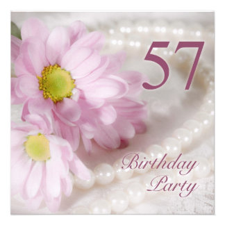 57th Birthday party invitation with daisies