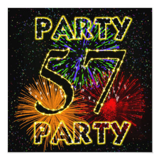 57th birthday party invitation with fireworks