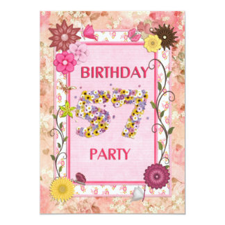 57th birthday party invitation with floral frame