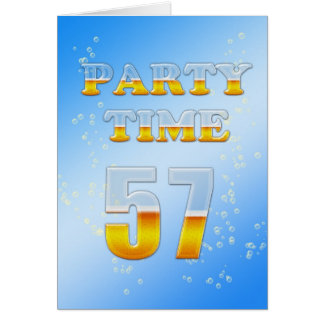 57th birthday party invitation with lots of beer greeting card