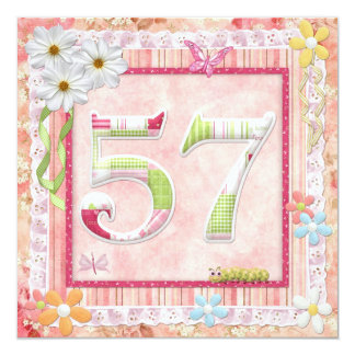 57th birthday party scrapbooking style 13 cm x 13 cm square invitation card