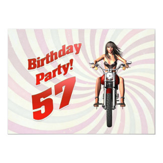 57th birthday party with a girl on a motorbike 13 cm x 18 cm invitation card