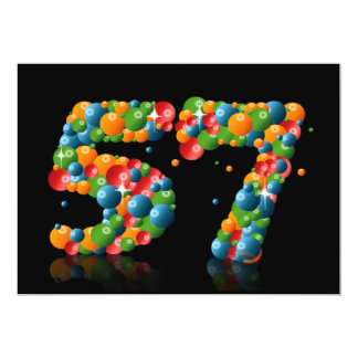 57th Birthday party, with bubbles and balls 13 Cm X 18 Cm Invitation Card