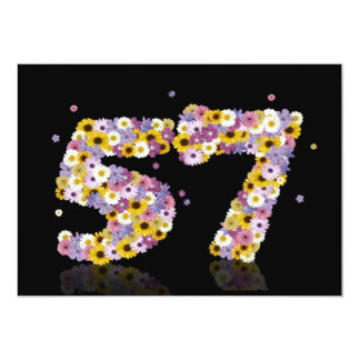 57th Birthday party, with flowered letters 13 Cm X 18 Cm Invitation Card