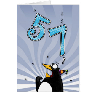 57th Birthday - Penguin Surprise Card