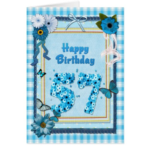 57th  Birthday with a scrapbook effect Card