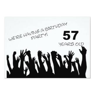 57th party invitation with cheering crowds