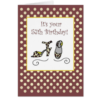 57th Shoes Birthday Card for Women with Polka Dots