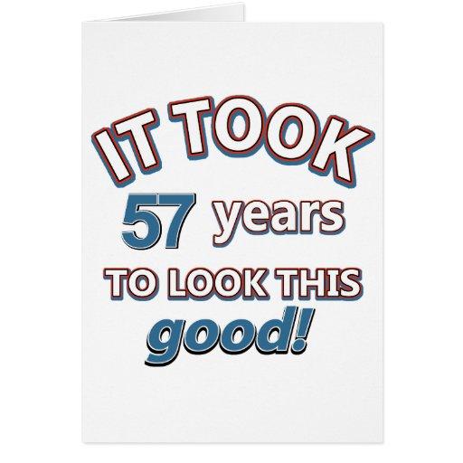 57th year birthday designs cards