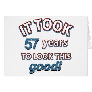 57th year birthday designs greeting card