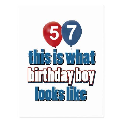 57th year birthday designs postcard