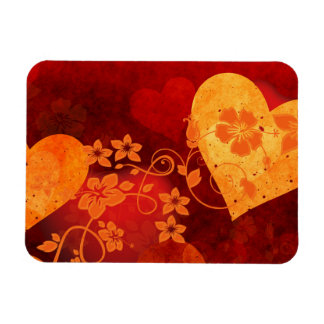 588088 ORANGE RED HIBISCUS HEARTS LOVE BACKGROUNDS MAGNET