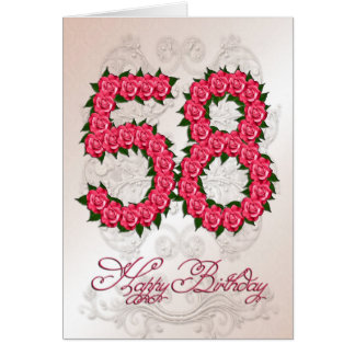 58th birthday card with roses and leaves