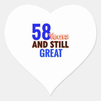 58th birthday design heart sticker