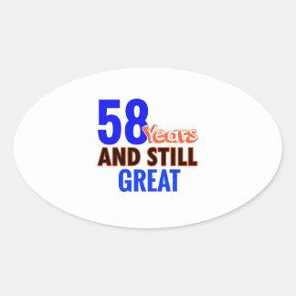 58th birthday design oval sticker