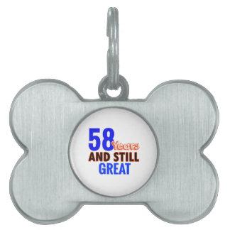58th birthday design pet tag