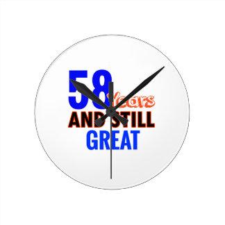 58th birthday design round clock