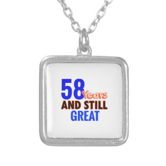 58th birthday design silver plated necklace