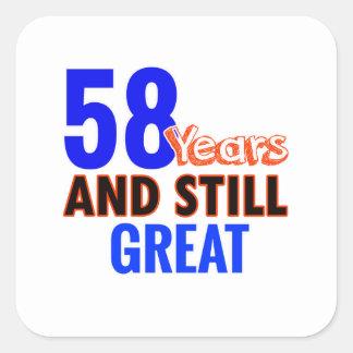 58th birthday design square sticker