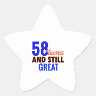 58th birthday design star sticker