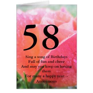 58th Birthday Rose Card