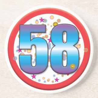 58th Birthday v2 Beverage Coaster
