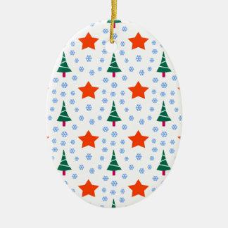 591 Cute Christmas tree and stars pattern.jpg Ceramic Ornament