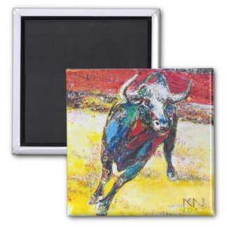 5.1 cm square Magnet Bull
