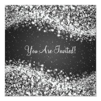 "5.25"" Elegant Wedding Sparkling Wave Black 13 Cm X 13 Cm Square Invitation Card"