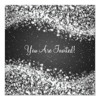 "5.25"" Elegant Wedding Sparkling Wave Black Card"