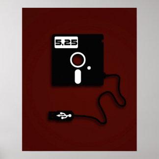 5.25-inch floppy disk USB Geek Nerd Poster