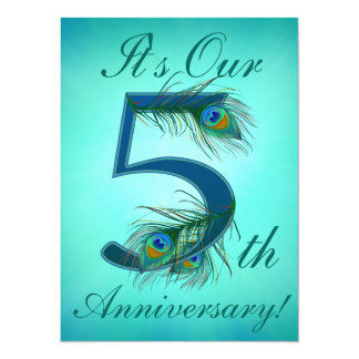 5 / 5th / 5th Anniversary / number 5 14 Cm X 19 Cm Invitation Card