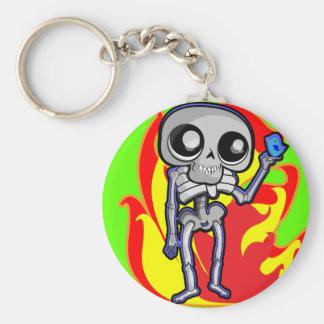 5.7 cm Basic Button Key Ring with skeleton