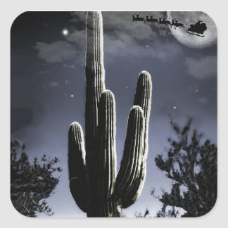 5 Armed Desert Saguaro in the Moonlight Square Sticker