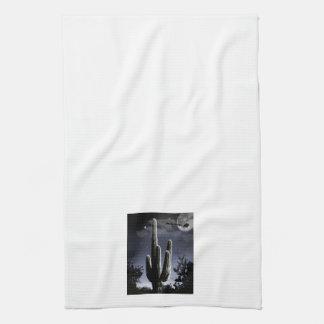 5 Armed Desert Saguaro in the Moonlight Tea Towel