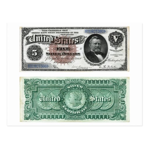 $5 Banknote Silver Certificate Series 1886 Post Cards