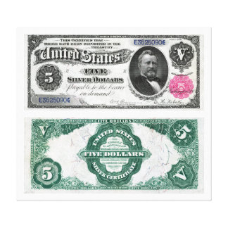 $5 Banknote Silver Certificate Series 1891 Gallery Wrapped Canvas