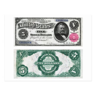5 Banknote Silver Certificate Series 1891 Postcards